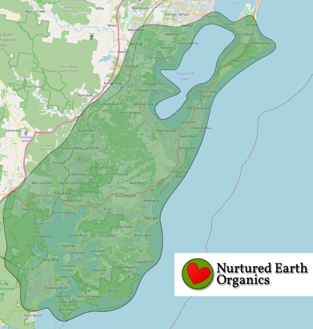 Nurtured Earth Organics delivery map Central Coast